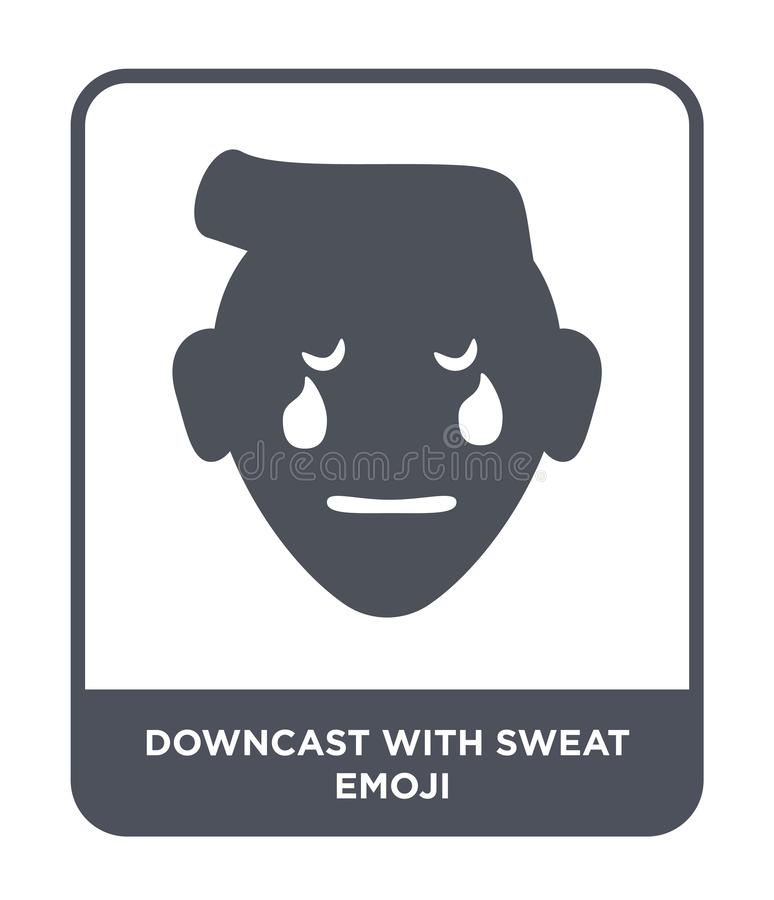 downcast with sweat emoji icon in trendy design style. downcast with sweat emoji icon isolated on white background. downcast with royalty free illustration
