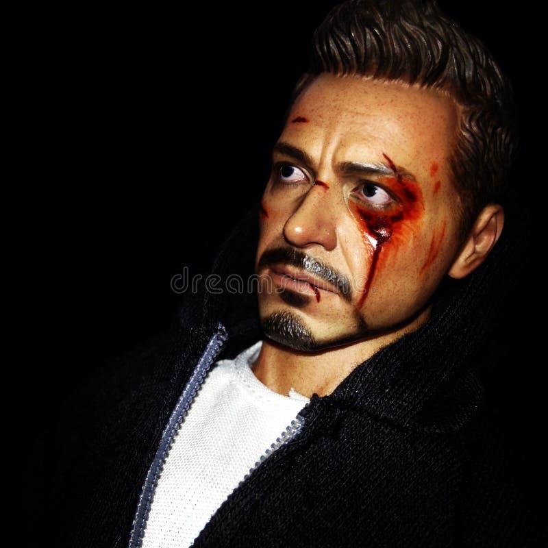 downey小罗伯特 作为托尼纯然的铁人 免版税库存照片