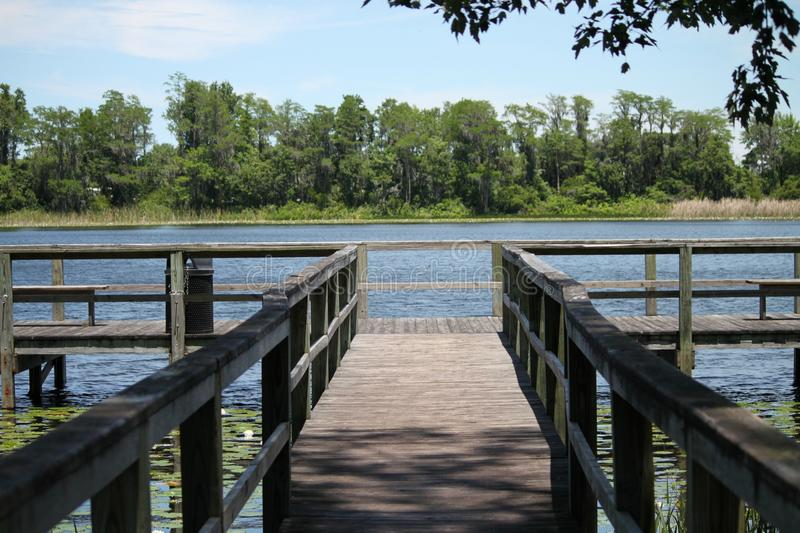 Downey park lake and dock in Orlando royalty free stock photos