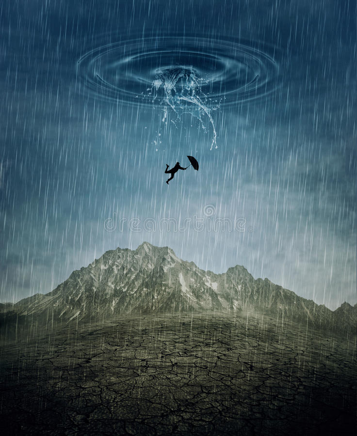 Downfall. A silhouette of an young man with an umbrella falling from the rainy sky as a splash of water crashing down to the cracked desert ground. Business risk royalty free stock photos