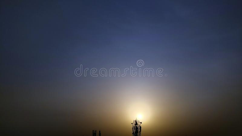 Downfall of sun. Evening sunset. Giving a decent colour to sky royalty free stock images