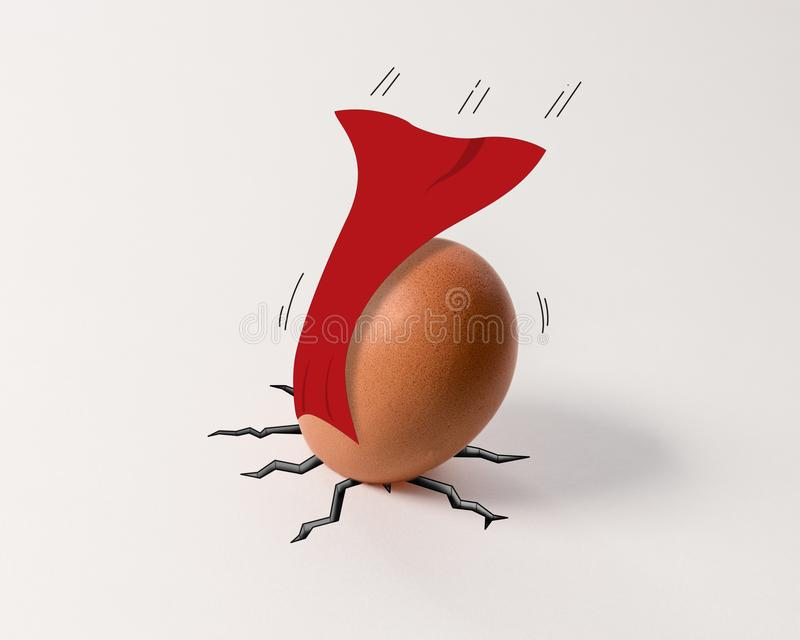 Downfallen superhero Easter egg with red cape. On white background stock photography