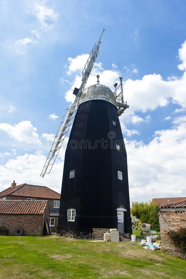 Downfield Windmill, East Anglia, England. Outdoors, outside, exteriors, europe, western, great, britain, united, kingdom, uk, cambridgeshire, county royalty free stock image