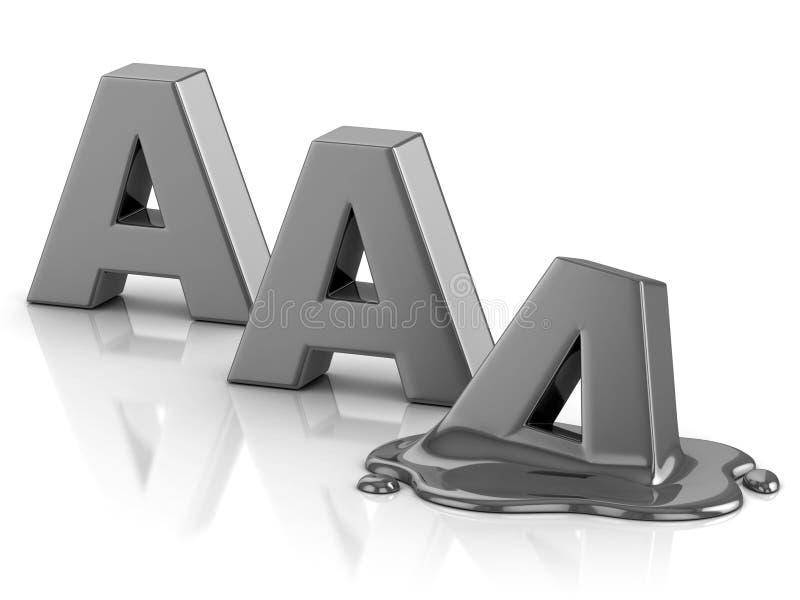 Downgrade del grado de solvencia del AAA ilustración del vector