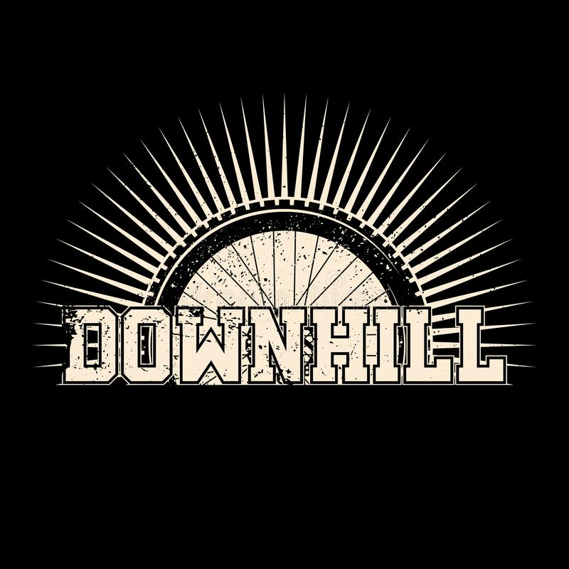 downhill Ρόδα ύφους Grunge με τις ακτίνες διανυσματική απεικόνιση