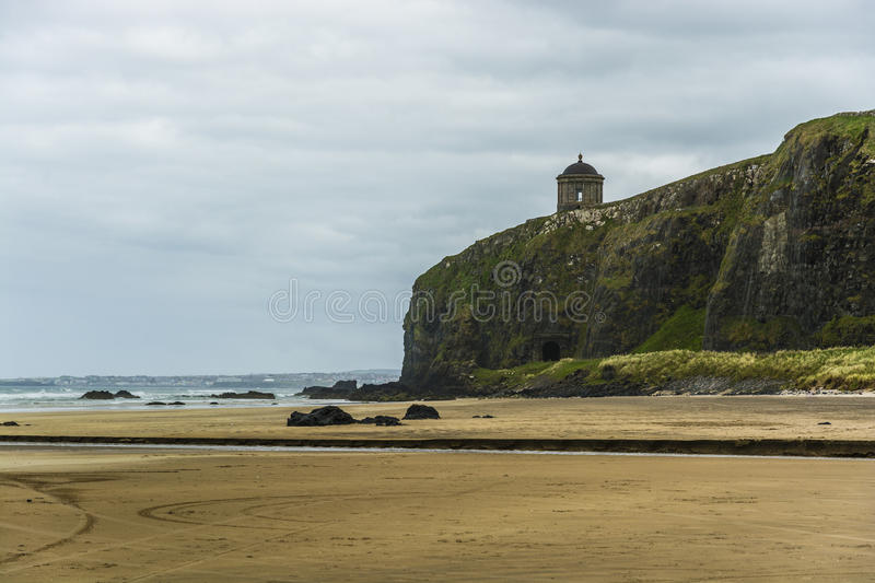 Downhill Beach and Mussenden Temple, Northern Ireland Coastline. Mussenden Temple is a small circular building located in the beautiful surroundings of Downhill royalty free stock photo