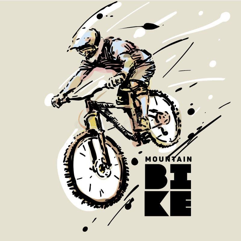 downhill Bicicleta de montanha ilustração royalty free