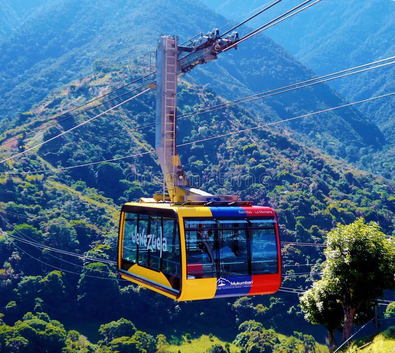 Mukumbari cable car system cabin in Venezuela royalty free stock image