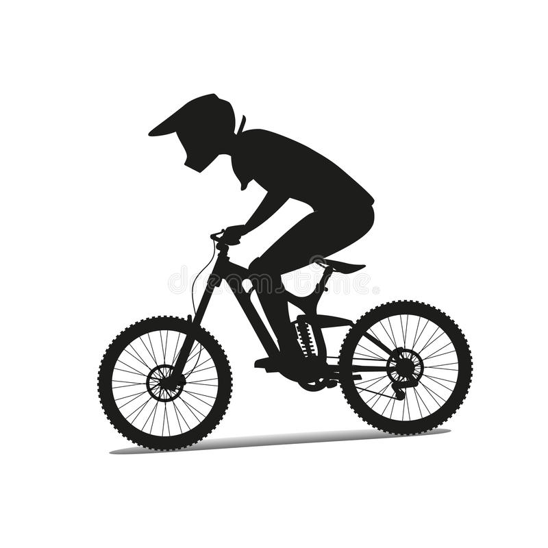 Downhill mountain bike. Vector silhouette royalty free illustration