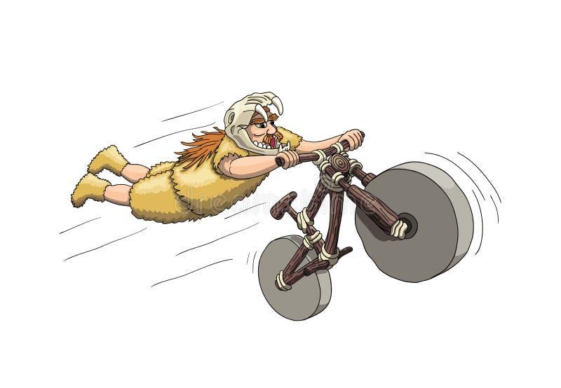 Downhill Mountain Biker from Primal Era. Freeriding Making Superman Stunt on Downhill Bike in Sabertooth Skull Helmet royalty free illustration