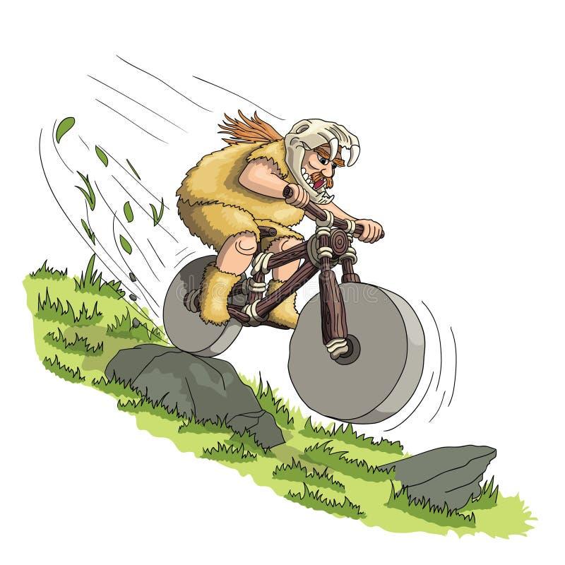 Downhill mountain biker from primal era stock illustration