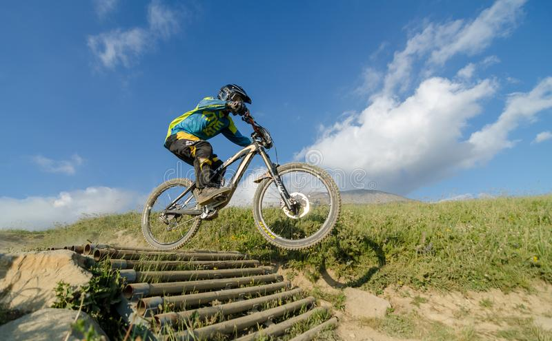 Downhill race in French Alps stock photos