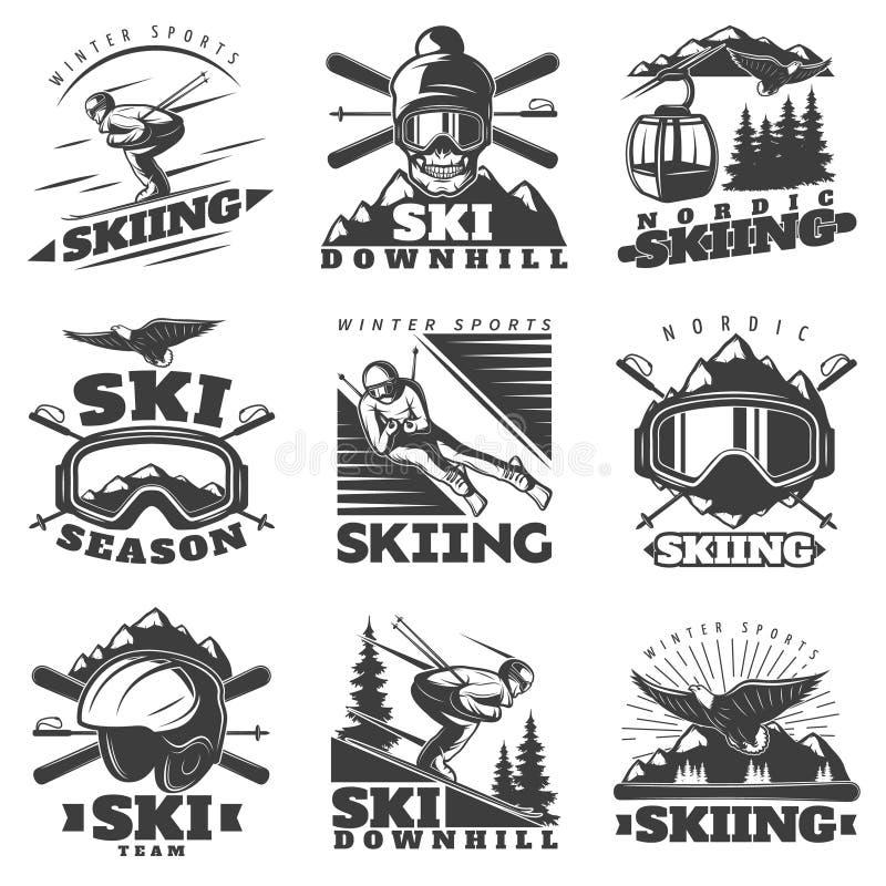 Downhill Skiing Labels Set royalty free illustration