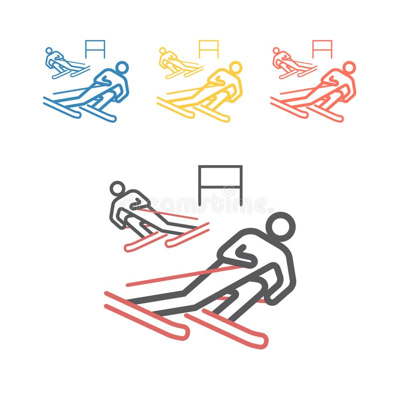 Downhill skiing line icon. Vector signs for web graphics. royalty free stock images