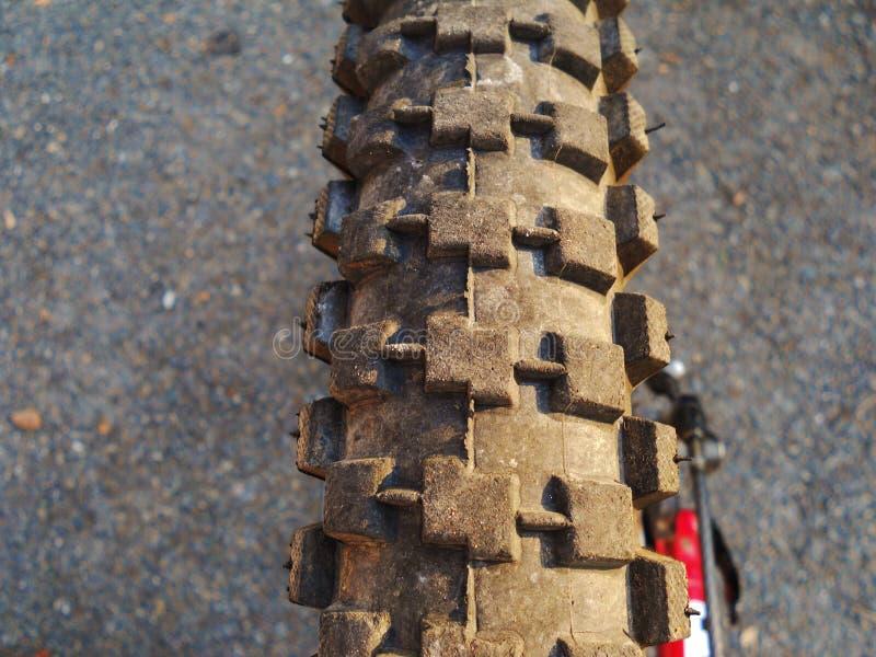 Downhill tire. Downhill bike tire of a downhill bike stock photos