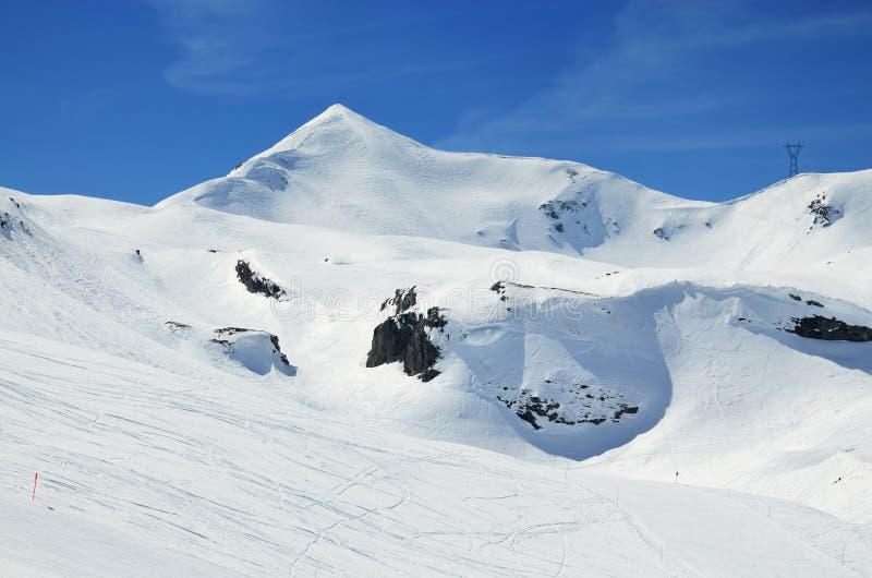Downhills en el invierno los Pirineos fotografía de archivo libre de regalías