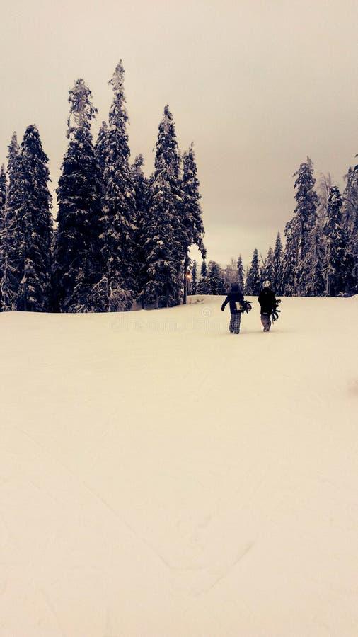 Downhillskiing en Finlandia fotografía de archivo libre de regalías
