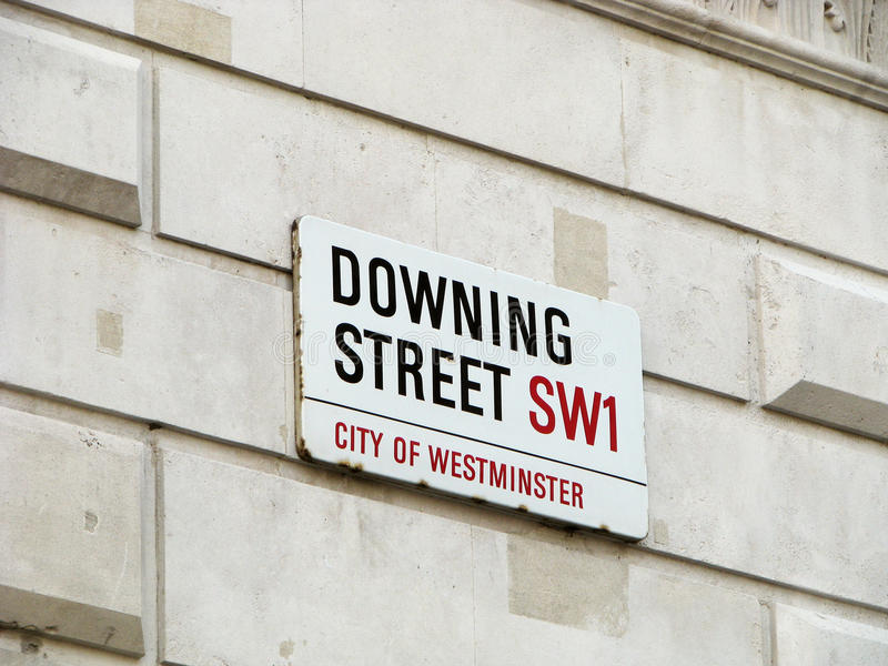 Downing Street. One of the most important address in UK. Downing Street 1 London, address of British Prime Minister stock photos