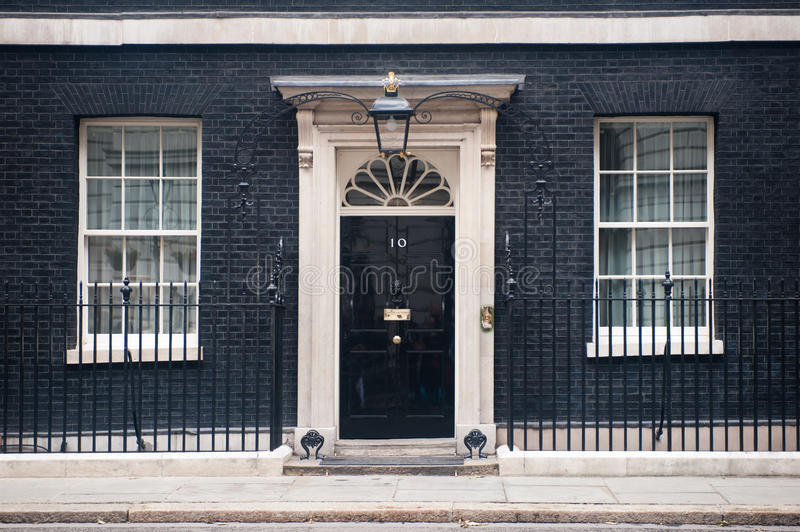 Entrance door of 10 Downing Street in London, UK royalty free stock photography