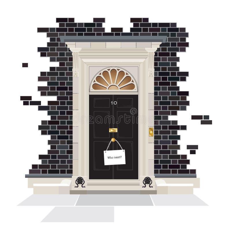 10 Downing Street met Who Volgende teken stock foto