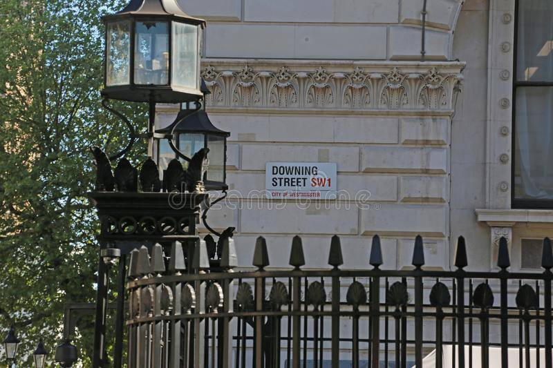 Downing street sign stock image