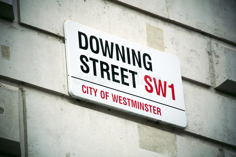 Downing Street sign in Westminster central London royalty free stock photography