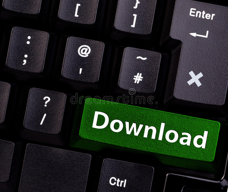 Download. The word download spelled on a keyboard button stock photos