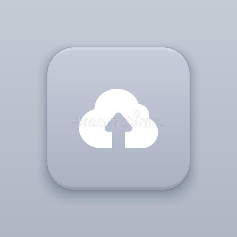 Download aan de wolk, grijze vectorknoop met wit pictogram vector illustratie