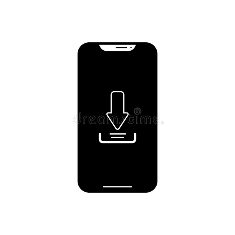 Black solid icon for Download app, phone and technology royalty free illustration
