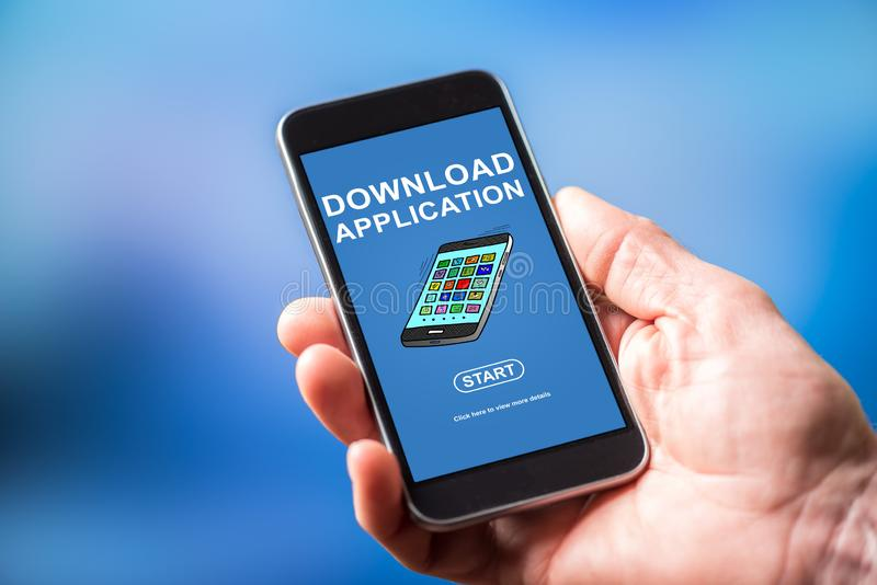 Download application concept on a smartphone. Smartphone screen displaying a download application concept royalty free stock photos