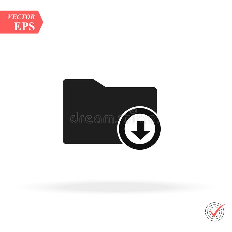 Download arrow with folder icon. concept web buttons. vector illustration. Flat design style stock illustration