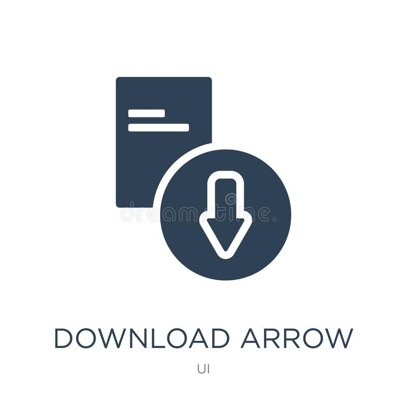 download arrow icon in trendy design style. download arrow icon isolated on white background. download arrow vector icon simple royalty free illustration