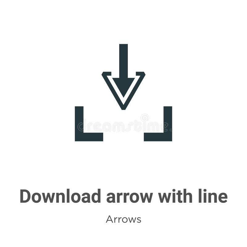 Download arrow with line vector icon on white background. Flat vector download arrow with line icon symbol sign from modern arrows vector illustration