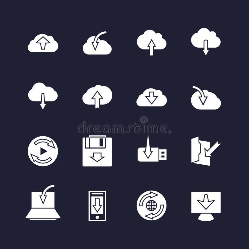 Download auf verschiedenen Geräten und Antriebskraft in den Wolkenikonen Datenladen-Pfeilzeichen lizenzfreie abbildung