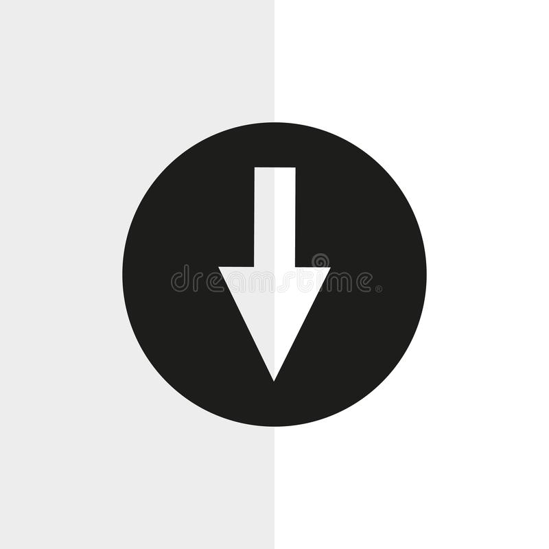 Download button icon on black. Vector icon. eps 10 vector illustration