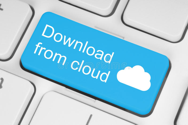 Download from cloud concept. On blue keyboard button stock image