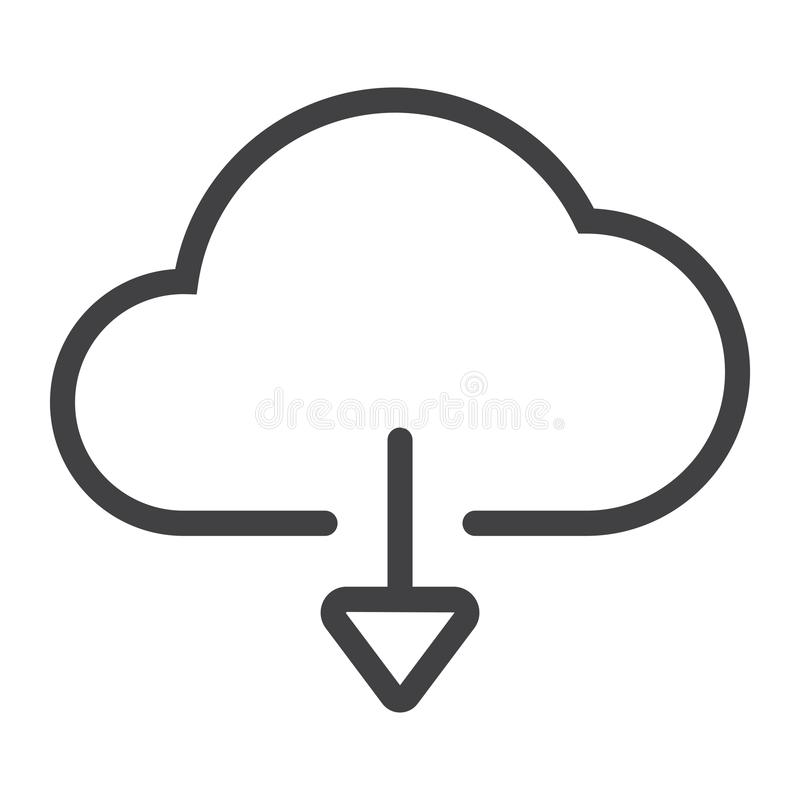 Download from cloud line icon, web and mobile, stock illustration