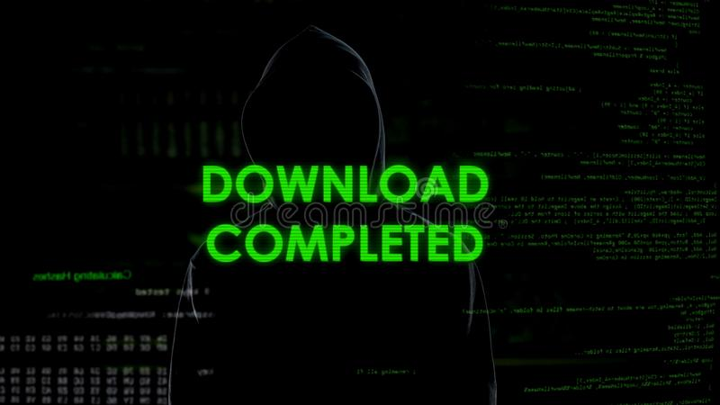 Download completed, hacker stealing personal data from account, system message. Stock photo royalty free stock photography