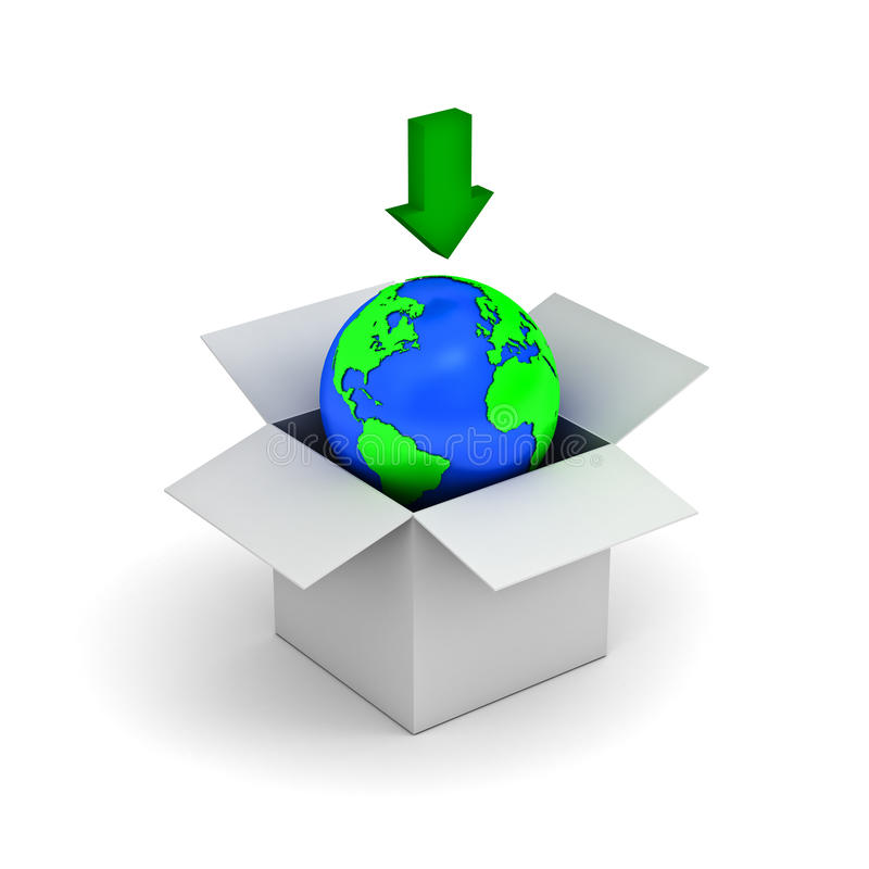 Download concept, earth globe in a white box stock illustration