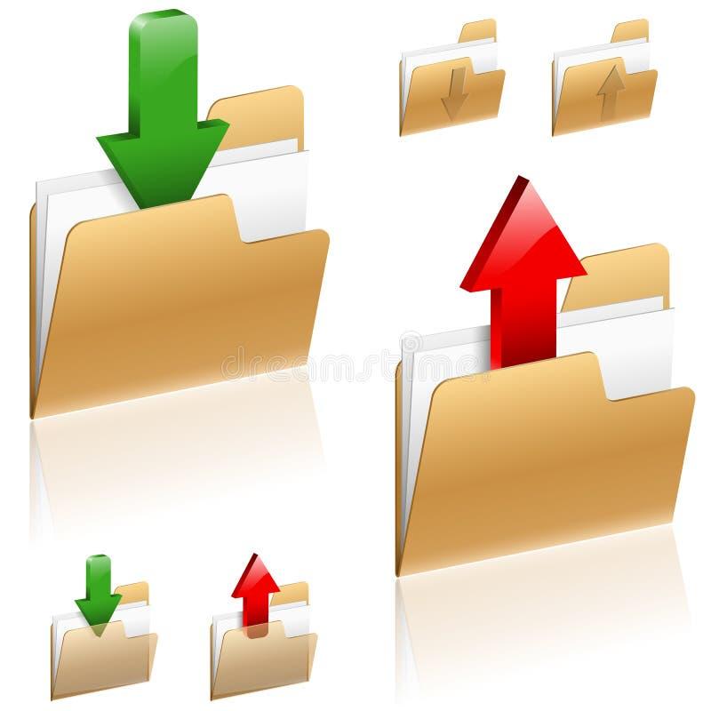 Download e conceito da transferência de arquivo pela rede ilustração do vetor