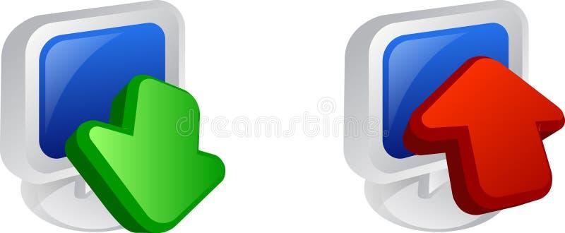 Download e transferência de arquivo pela rede ilustração stock