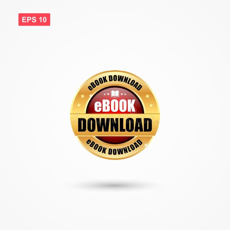 Download ebook kenteken met rode en gouden kleur vector illustratie