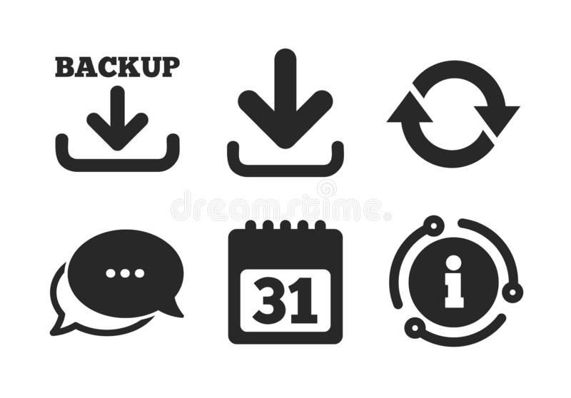 Download en Reservetekens Kalender, omwenteling Vector vector illustratie