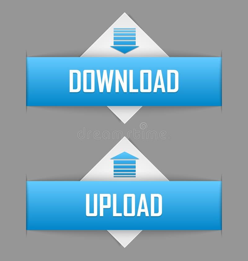 Download en upload knopen vector illustratie