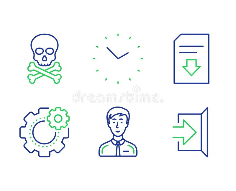 Download file, Cogwheel and Time icons set. Businessman person, Chemical hazard and Exit signs. Vector. Download file, Cogwheel and Time line icons set stock illustration