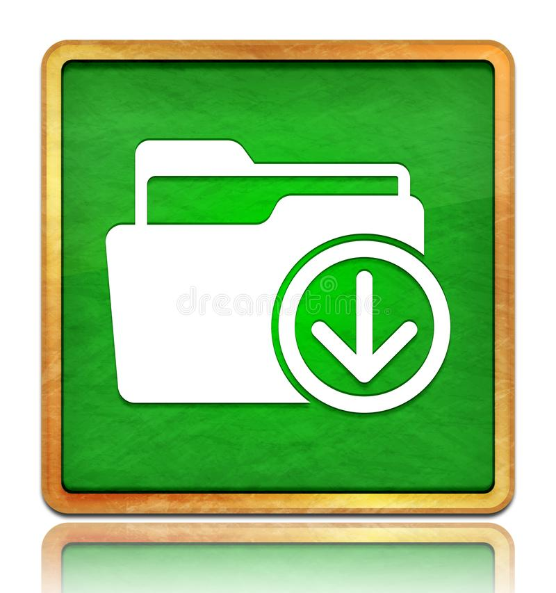 Download files icon chalk board green square button slate texture wooden frame concept isolated on white background with shadow. Reflection chalkboard stock images