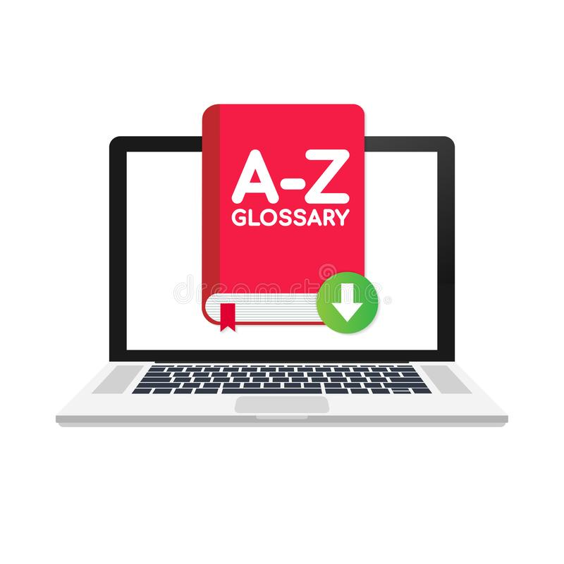Download Glossary book on laptop. Vector illustration. royalty free illustration
