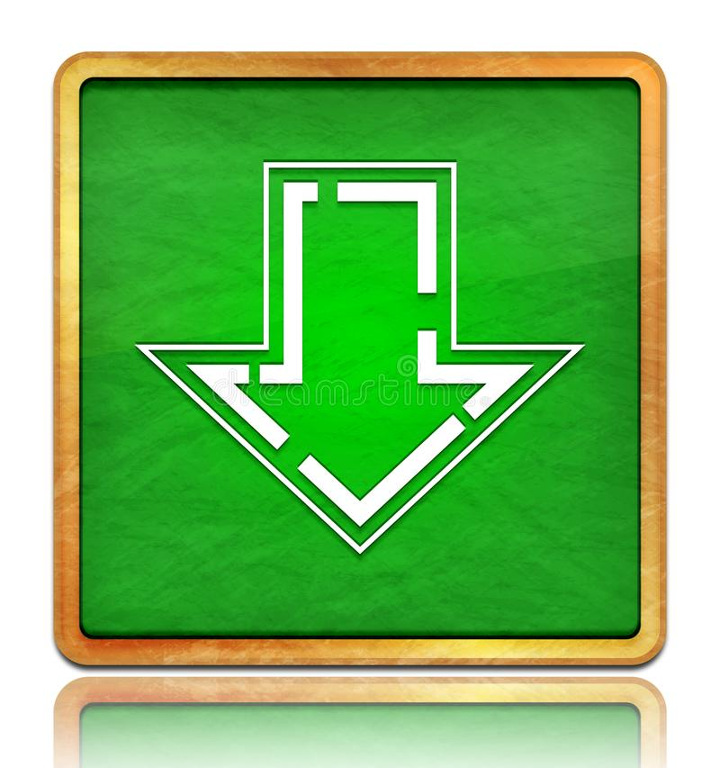 Download icon chalk board green square button slate texture wooden frame concept isolated on white background with shadow. Reflection chalkboard illustration royalty free illustration