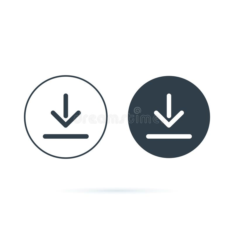 Free Download Icon. Downloading Vector Icon. Save To Computer Symbol, Solid And Line Icons Set For Upload Option. Arrow Down Royalty Free Stock Photography - 145586757