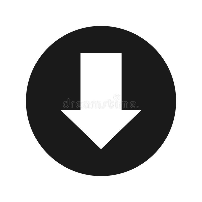Download icon flat black round button vector illustration stock illustration